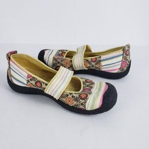 Keen Harvest Mary Jane Canvas Shoes Floral Stripe